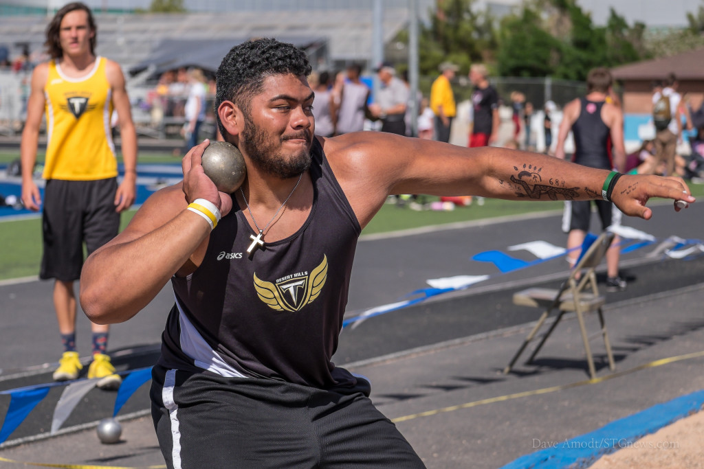 Thunder shot putter Bundy Sewell, Region 9 track and field championships at Dixie High, St. George, Utah,  May 6, 2015 | Photo by Dave Amodt, St. George News