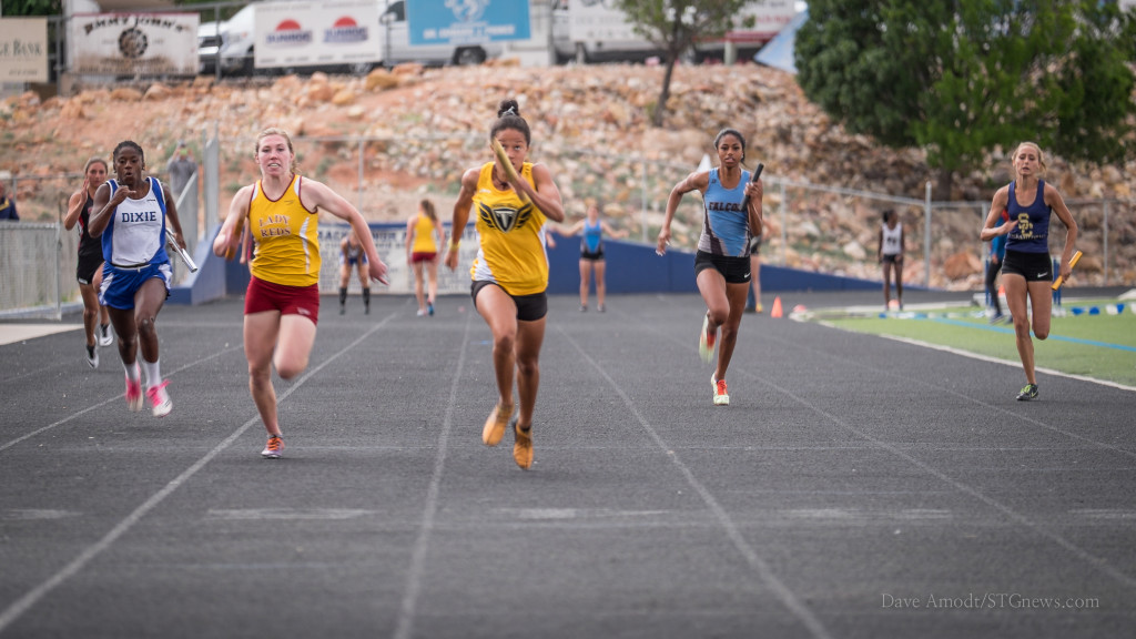 Girls 4x100, Region 9 track and field championships at Dixie High, St. George, Utah,  May 7, 2015 | Photo by Dave Amodt, St. George News