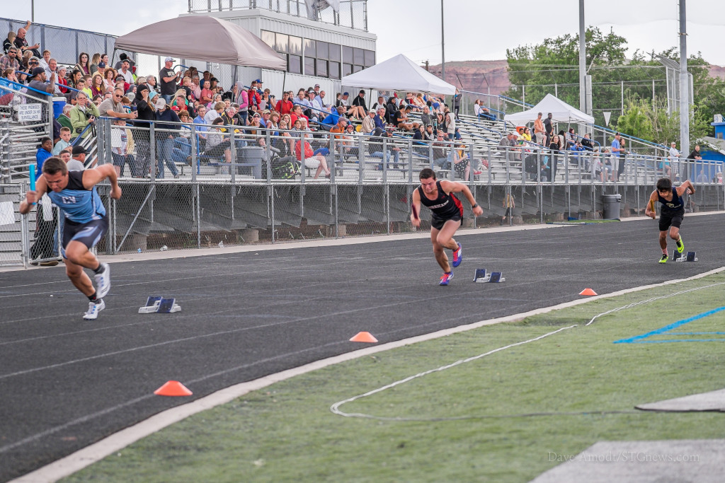 Start of the 4x100, Region 9 track and field championships at Dixie High, St. George, Utah,  May 6, 2015 | Photo by Dave Amodt, St. George News