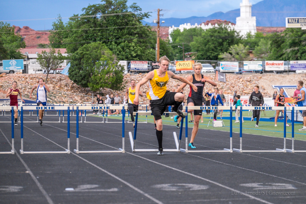 Caleb Whitney wins the 300-meter hurdles, Region 9 track and field championships at Dixie High, St. George, Utah,  May 7, 2015 | Photo by Dave Amodt, St. George News