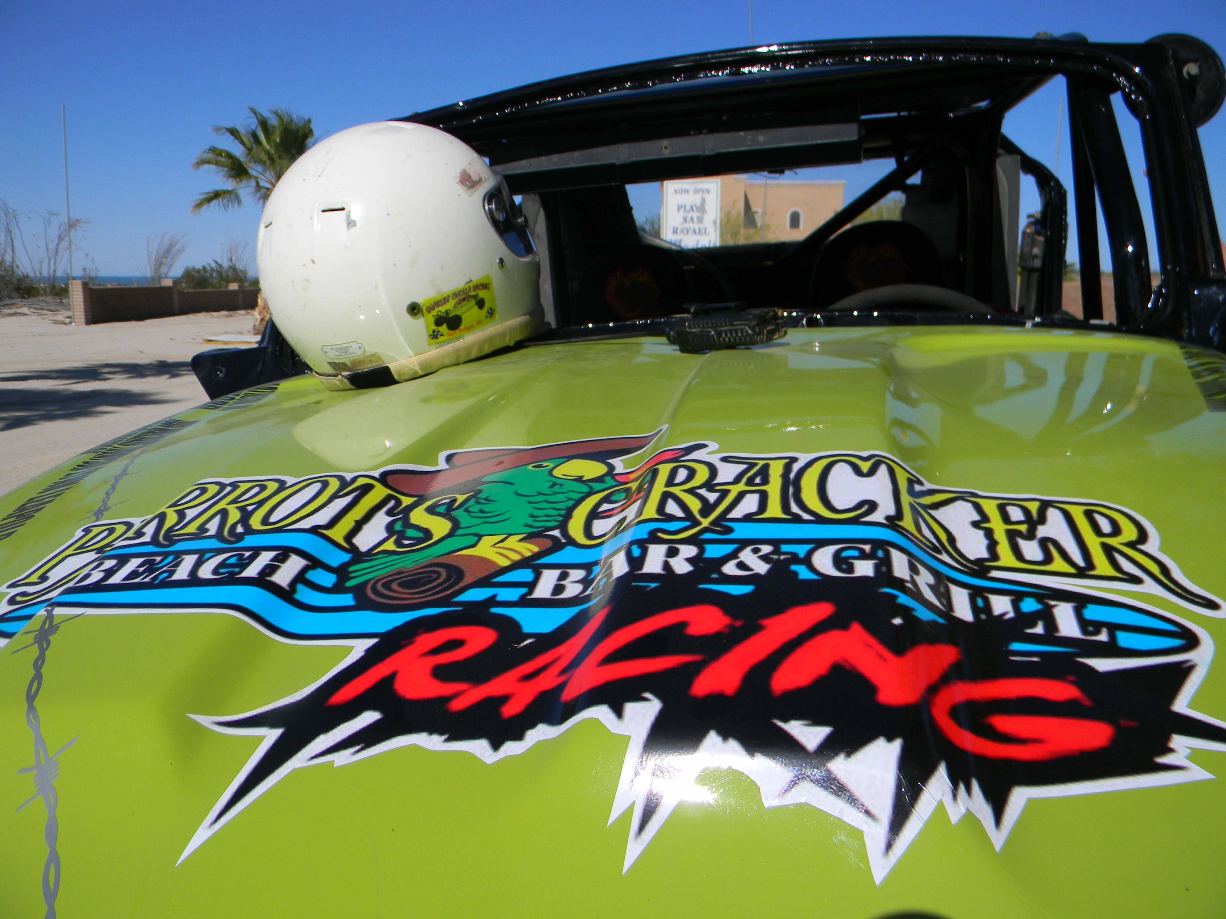 Race car bearing Ed Kociela's name as a cancer survivor, for Racing for Boobs, outside San Felipe, Baja, Mexico, April 2015 | Photo courtesy of Ed Kociela, St. George News