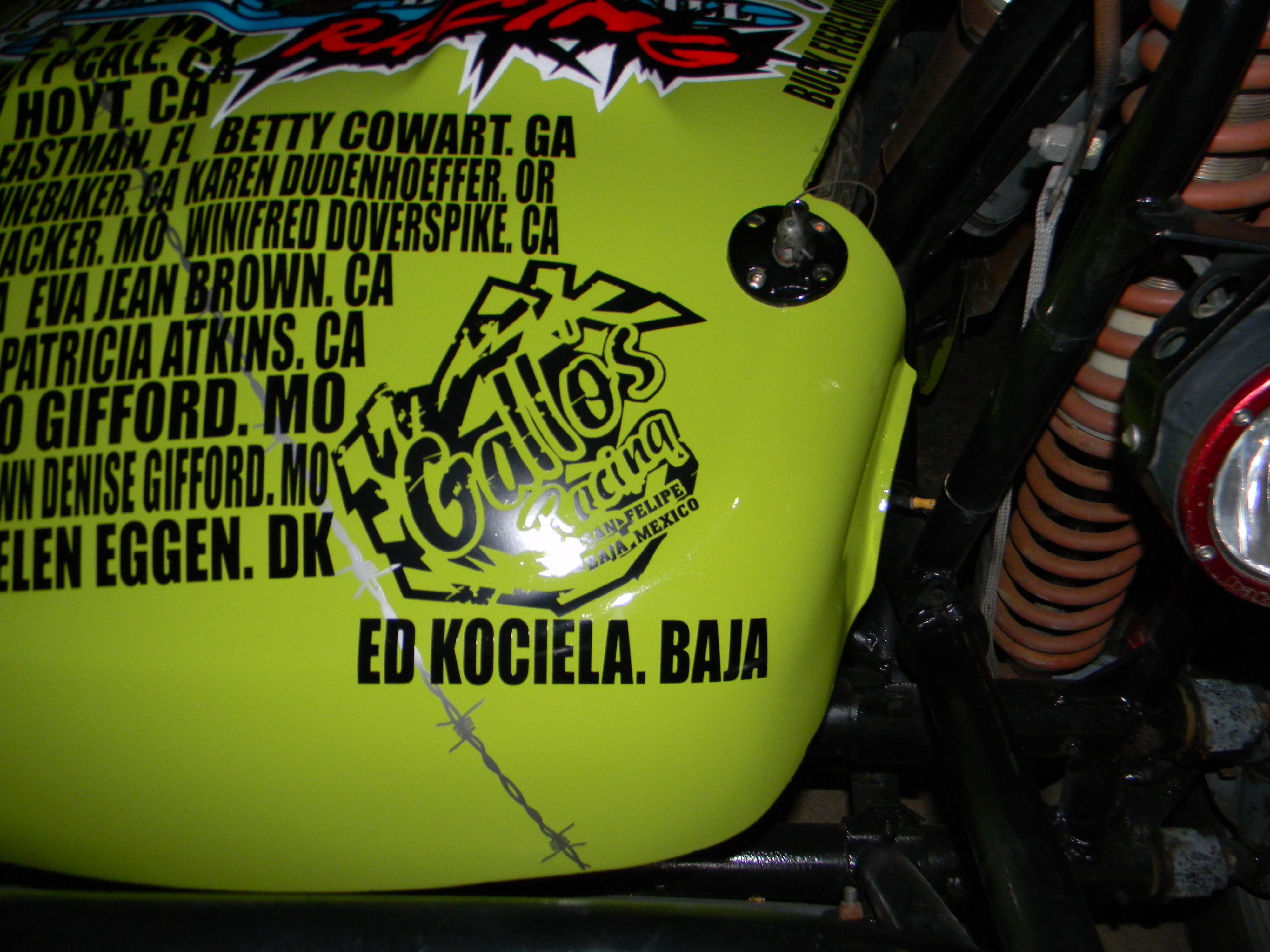 Race car bearing Ed Kociela's name as a cancer survivor, for Racing for Boobs, outside San Felipe, on The Baja, Mexico, April 2015 | Photo courtesy of Ed Kociela, St. George News