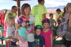 The Conover family receives new bike helmets at the Santa Clara Bike Fest and Road Respect Tour held at Gubler Park, Santa Clara, Utah, May 28, 2015   Photo by Hollie Reina, St. George News