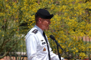 Major General Jefferson Burton of the Adjutant Utah National Guard addresses the audience at the Eagle Monument Dedication held at the Southern Utah Veterans Home, Ivins, Utah, May 29, 2015 | Photo by Hollie Reina, St. George News