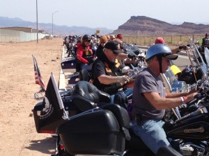 The procession of freedom riders arrives at the Warbird Air Museum, St. George, Utah, May 17, 2014 | Photo by Hollie Reina