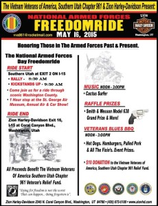 Freedom Ride Flyer details the event schedule, location and date not specified | Photo courtesy of the Vietnam Veterans of America, Southern Utah Chapter 961, St. George News click on image to enlarge