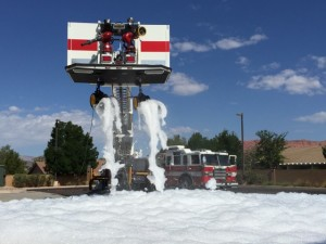 A foam cannon is set to get the party started at the Fire Hose Frenzy, location and date not specified | Photo courtesy of Fire Hose Frenzy, St. George News