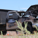 A truck is completely engulfed in flames after a possible transmission failure on State Street, Hurricane, Utah, May 28, 2015 | Photo by Nataly Burdick, St. George News