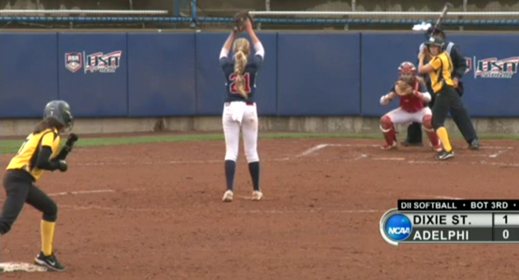 Michelle Duncan delivers a pitch on the live feed on NCAA.com during the NCAA Division II Tournament in Oklahoma, City, Ok.,  May 22, 2015   Photo courtesy NCAA.com