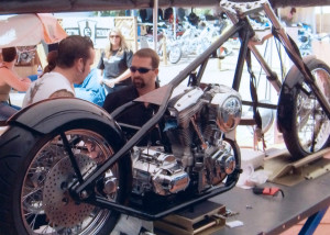 Hyrum Zerkle at Sturgis building his custom bike that he won, Sturgis, South Dakota, 2015 | Photo courtesy of Hyrum Zerkle, St. George News