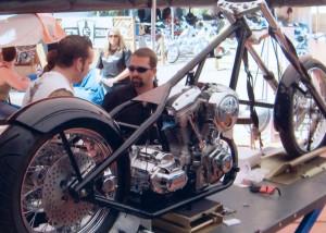 Hyrum Zerkle at Sturgis building his custom bike that he won, Sturgis, South Dakota, 2015 | Photo courtesy of Hyrum Zerkle, St. George News