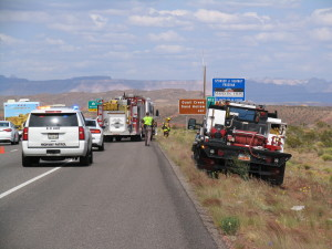 Car fire, Interstate 15 exit 16, Hurricane, Utah, May 13, 2015 | Photo by Carin Miller, St. George News