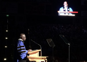 Reverend France A. Davis speaks at the 2015 commencement ceremony, Southern Utah University Centrum Arena, Cedar City, Utah, May1, 2015 | Photo by Carin Miller, St. George News