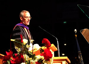 SUU President Scott L. Wyatt greets the 2015 graduates at the commencement ceremony, Southern Utah University Centrum Arena, Cedar City, Utah, May1, 2015 | Photo by Carin Miller, St. George News