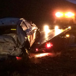 Dodge Stratus hydroplanes and rolls on southbound Interstate 15 south of New Harmony, Utah, May 5, 2015 | Photo by Carin Miller, St. George News
