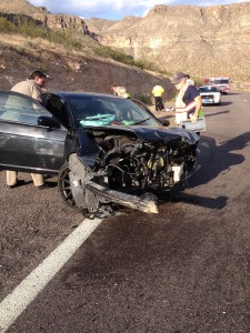 Damage to a vehicle after a collision on I-15, just south of the Utah-Arizona border, Virgin River Gorge, May 26, 2015 | Photo courtesy of Debbie Gates, Beaver Dam-Littlefield Fire District
