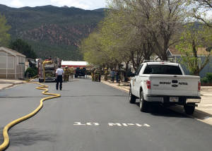 Mobile home fire, Foothills RV Subdivision, Parowan, Utah, May 12, 2015 | Photo by Carin Miller, St. George News