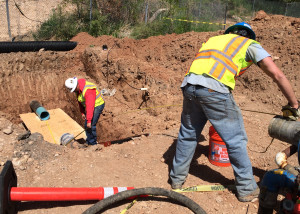 Insituform Technologies LLC intalls a liner into the broken water pipe that carries drinking water from the east side of Cedar City to the west, 400 North and Interstate 15, Cedar City, Utah, May 13, 2015 | Photo by Carin Miller, St. George News