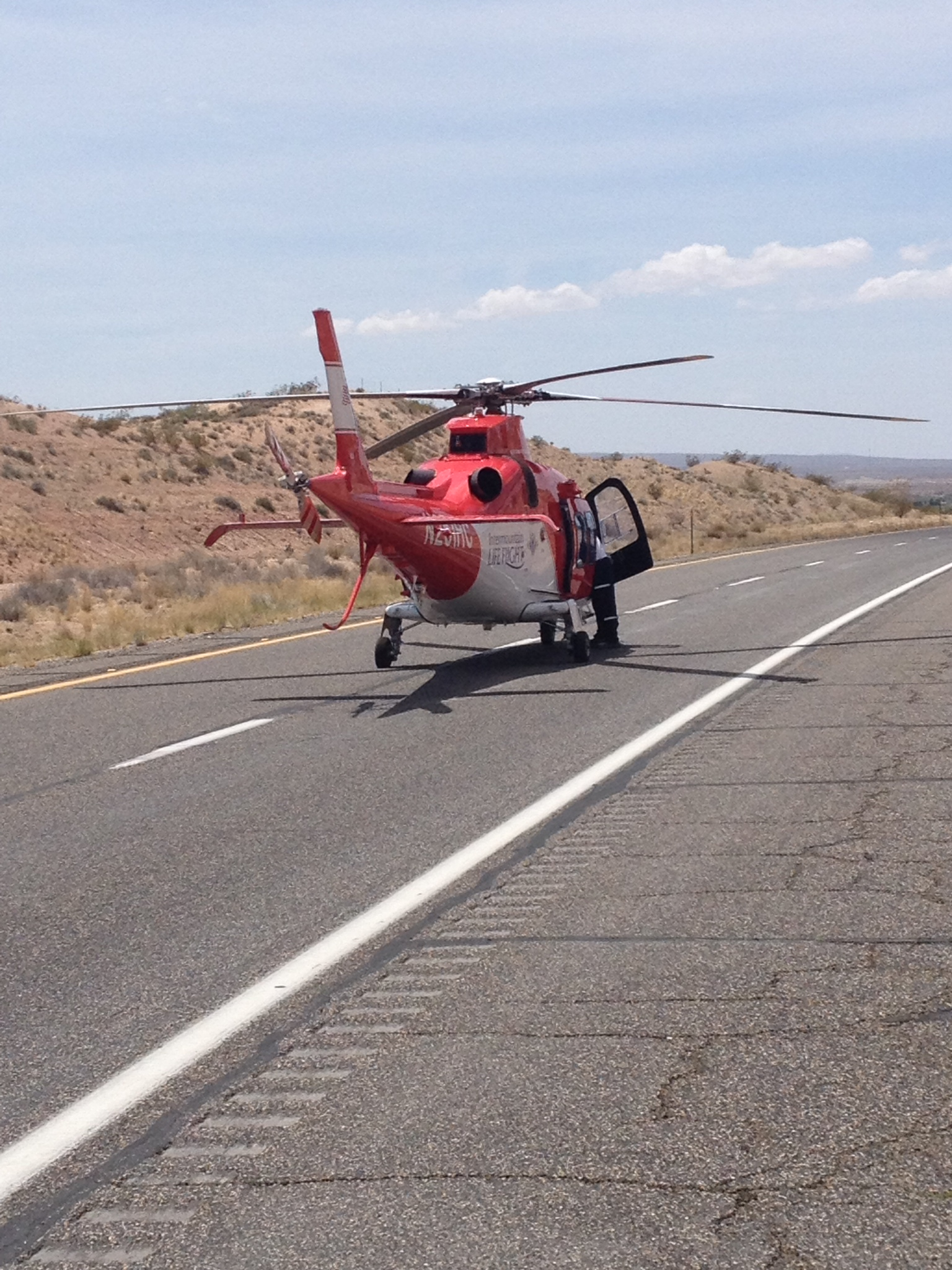 A man was transported to the hospital via Life Flight after a rollover on southbound Interstate 15 about 2 miles north of Mesquite, Nevada, May 13, 2015 | Photo courtesy of Arizona Department of Public Safety Sgt. John T. Bottoms, St. George News