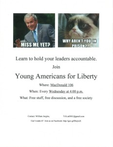 "One of the satirical fliers the Young Americans for Liberty club hoped to use to promote a meeting, but was not approved by Dixie State University staff due to violations of school policy against depicting individuals in a ""disparaging"" light. 