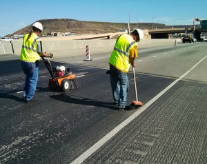 Prep work on Interstate 15 near Exit 5 being done prior to asphalt sealer placement, St. George, Utah, May 28, 2015 | Photo courtesy of Todd Abbot, St. George News