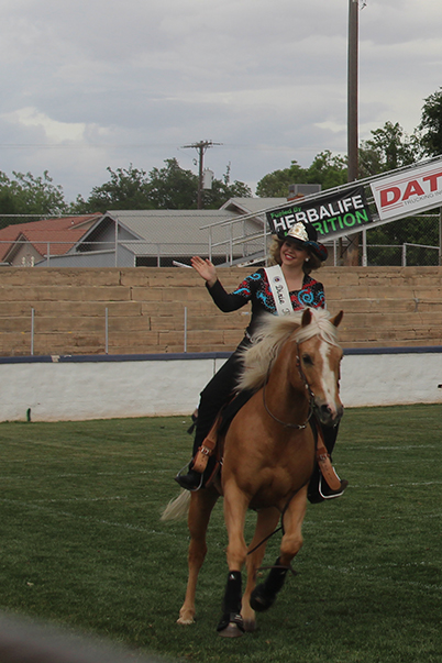 Sarah Kemp, 2015 Dixie Round-up Rodeo Queen, rides around the Sunbowl to celebrate her coronation, St.George, Utah, May 7, 2015 | Photo by Nataly Burdick, St. George News