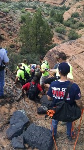 Members of Ivins Fire and Rescue and the Washington County Sheriff's Search and Rescue team work bring an injured hiker to a waiting helicopter for medical transport, Snow Canyon State Park, Utah, May 6, 2015 | Photo courtesy of Bart Bailey, St. George News