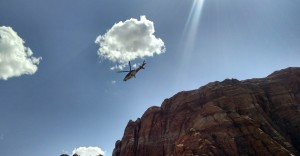 Life Flight leaving Snow Canyon State Park to deliver an injured hiker to Dixie Regional Medical Center, Snow Canyon State Park, Utah, May 6, 2015 | Photo courtesy of Cory Pulsipher, St. George News