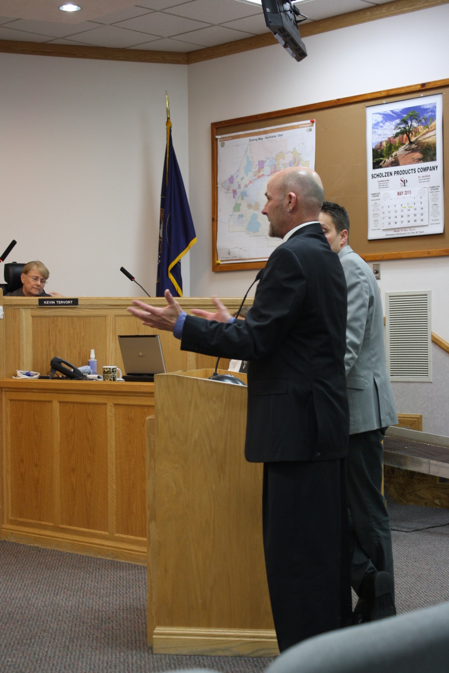 L front to back: Stephen Ward, owner of Barista's restaurant, with attorney Eric Carson, addressing the Hurricane City Council , requesting a hard-alcohol liquor license, Hurricane City Council Chambers, Hurricane, Utah, May 7, 2015 | Photo by Reuben Wadsworth, St. George News