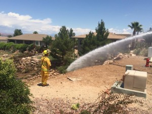 Brush fire in the Stone Cliff gated community, St. George, Utah, May 26, 2015 | Photo by Ric Wayman, St. George News