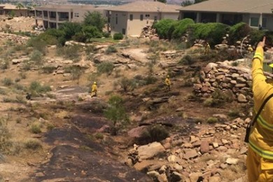 Brush fire in the Stone Cliff gated community, St. George, Utah, May 26, 2015   Photo by Ric Wayman, St. George News