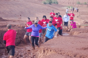 Members of Team Red, White and Blue participate in the Hurricane Mud Run, Hurricane, Utah, May 16, 2015 | Photo by Hollie Reina, St. George News
