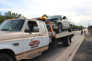 Damage to a vehicle involved in a three-car accident on State Street, Laverkin, Utah, May 11, 2015 | Photo by Nataly Burdick, St. George News