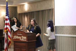 Maegan Pato, a Dixie State University student, accepts a scholarship at the Utah Business Women's luncheon, St. George, Utah, May 12, 2015 | Photo by Nataly Burdick, St. George News