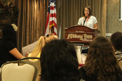 Kristin Williams, wife of Dixie State University's president, gives the keynote address at the Utah Business Women's luncheon, St. George, Utah, May 12, 2015 | Photo by Nataly Burdick, St. George News