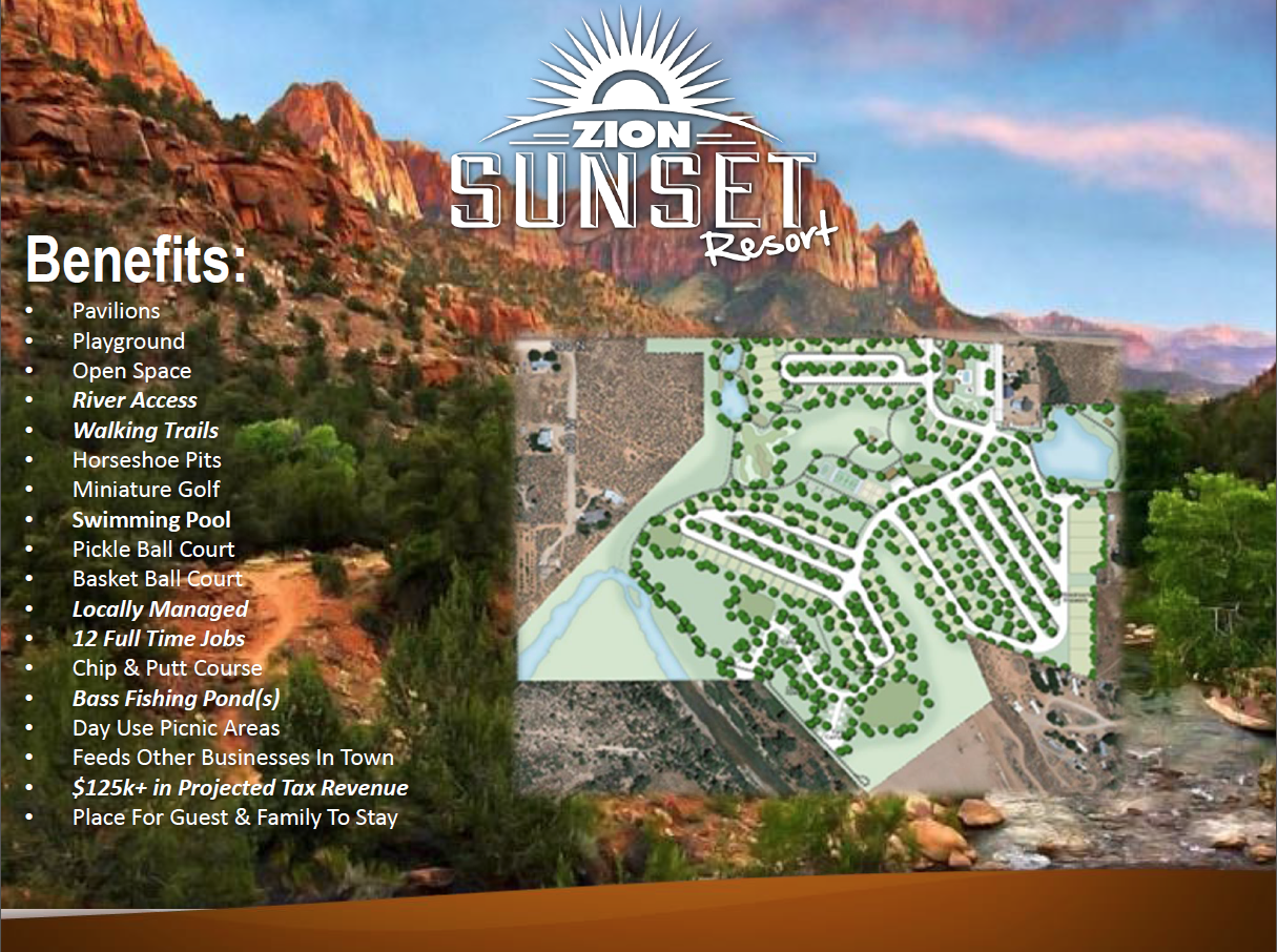 Preliminary, basic concept plan of Zion Sunset Resort | Image courtesy of attorney Kimberly Barnes, St. George News