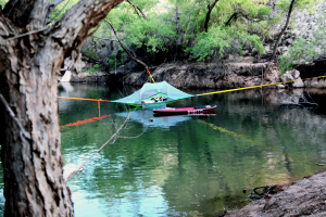 Hammock tent over the water at Quail Creek Reservoir, April 29, 2015 | Photo by Corey McNeil, St. George News