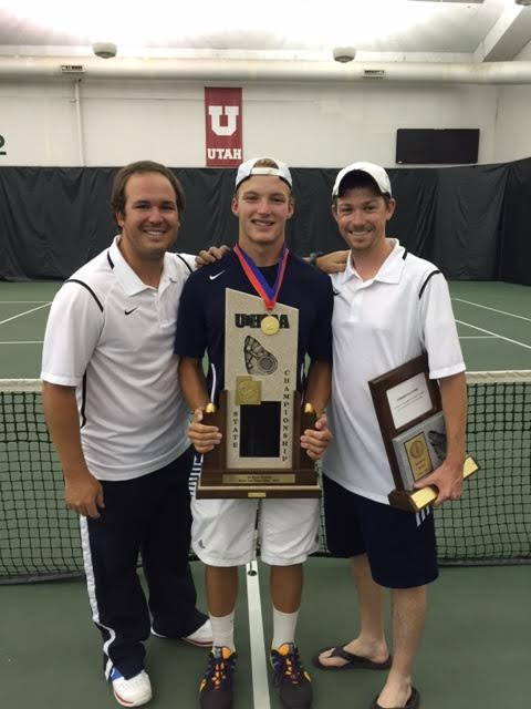 Will Benson, center, helped Snow Canyon win the team title with his victory at second singles. | Photo courtesy Robert Benson
