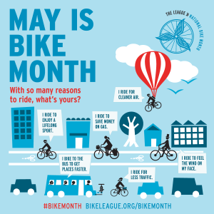 May is Bike Month infographic, location and date not specified   Photo courtesy of the American League of Bicyclists Bike Month promotional materials, St. George News