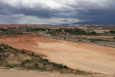 Site of a part of the incoming Boulder Creek Crossing commercial Development along River Road, as seen from the hillside by Bundy Lane, St. George, Utah, May 4, 2015   Photo by Mori Kessler, St. George News