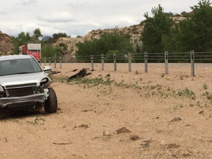 The scene of an accident where a man ran into barriers on I-15 following a coughing attack that made him black out, Leeds, Utah, May 21, 2015 | Photo by Nataly Burdick, St. George News