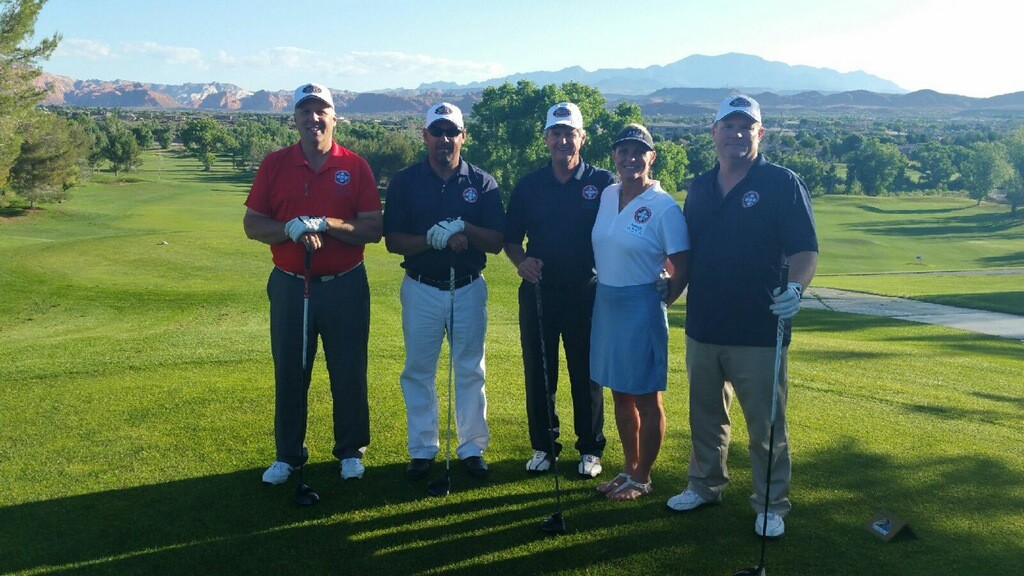 Rounds Fore Warriors golfers get set to tee off Thursday morning at Sunbrook Golf Course (l to r) Allen Wakefield, Joe Weidenhammer, Bob Nicollm ASEA's Tricia Olson and John Weiss, Rounds Fore Warriors charity event, St. George, Utah, May 28, 2015 | Photo by Katie Warner
