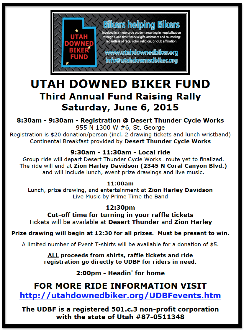 Event flyer | Image courtesy of Utah Downed Biker Fund, St. George News | Click on image to enlarge