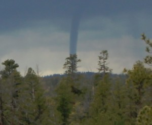 Funnel cloud sighted over Bryce Canyon National Park, Utah, May 26, 2015 | Photo courtesy of National Weather Service, St. George News