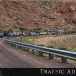 Traffic backed up on Interstate 15 in the Virgin River Gorge, Arizona, March 12, 2015 | Photo by Kimberly Scott, St. George News