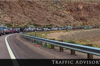 Traffic backup in the Gorge, photo is illustrative not actual to the date of attached report | Stock image, St. George News
