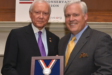 Sen. Orrin Hatch accepting an award by the American Conservative Union, Washington, D.C., May 14, 2015 | Photo courtesy of the offices of Sen. Orrin Hatch, St. George News