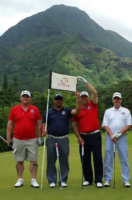 """Rounds Fore Warriors"" golfers in Hawaii Sunday morning at Ko'ohau Golf Course (l to r) John Weiss, Joe Weidenhammer, Allen Wakefield and Bob Nicoll, ""Rounds Fore Warriors"" charity event, Kaneohe, Hawaii, May 28, 2015 | Photo courtesy Rounds Fore Warriors"
