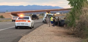 Rollover off southbound Interstate 15 at the Washington Parkway exit, Washington City, Utah, May 1, 2015 | Photo by Mori Kessler, St. George News