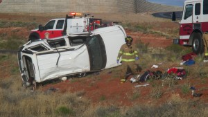 Rollover into the median on northbound Interstate 15 near milepost 15, Washington, Utah, May 9, 2015 | Photo by Mori Kessler, St. George News